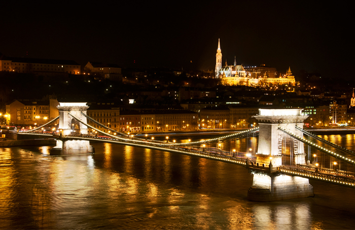 golden Budapest cityscape at night